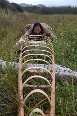sighting Animating a Hide on Frame Greenland Kayak
